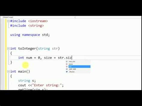 convert string into integer in C++ without using atoi