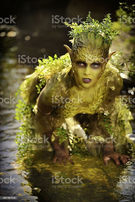 Special Fx Makeup Mother Nature Outdoors In A Stream Stock
